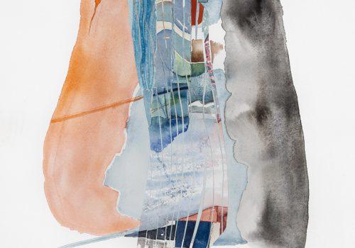 Akvarell kollage 43 x 37 cm